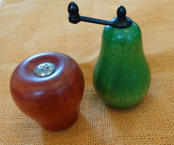 Artist made wooden apple and pear salt and pepper shaker and Funky salt and pepper grinders