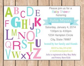 Alphabet Baby Shower Invitation - Boy, Neutral - 1.00 each printed