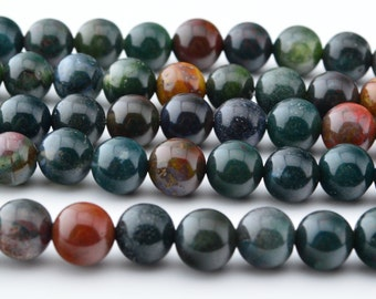 15 IN   8MM   Natural  Mix   Bloodstone  Round  Bead