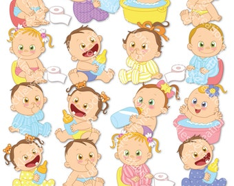 Happy Babies Digital Clip Art (Instant Download)