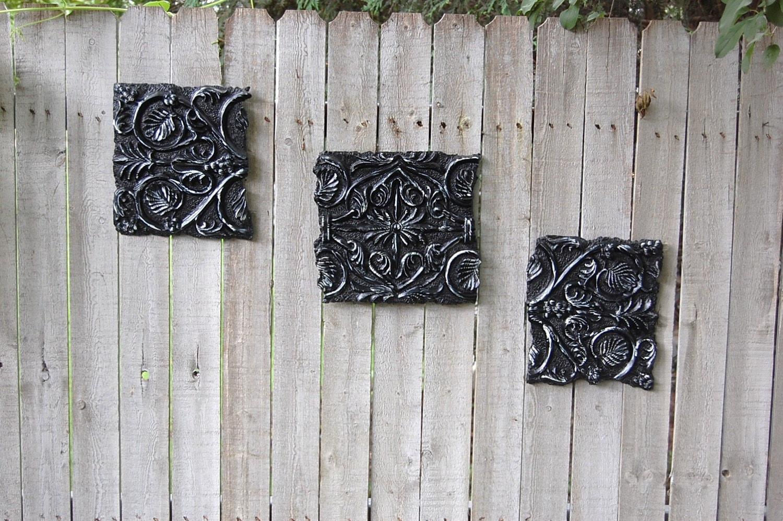 Wall Decor Rustic Chic : Wall decor black white shabby chic ceramic rustic set of