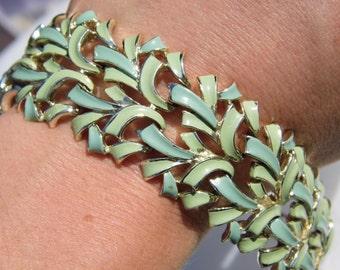 Stunning vintage enameled Jewelcraft bracelet mint greens
