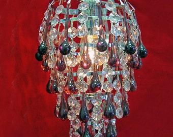 """Mini 6"""" x 10"""" Crystal Shower Pendant Chandelier - Purple Crystal Teardrops - Silver Frame"""