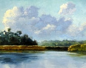 "Jennifer Berry Fine Art ""Morning On The Creek"" 7x5"" oil painting on canvas Florida Landscape"