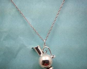 Handmade sterling silver pitcher pendant