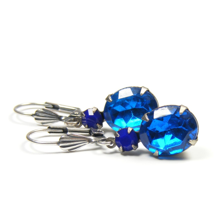Blue Jewel Earrings, Great Gatsby Style Drop Earrings, 1950s Vintage Glass Rhinestone Jewels, Navy & Capri Blue