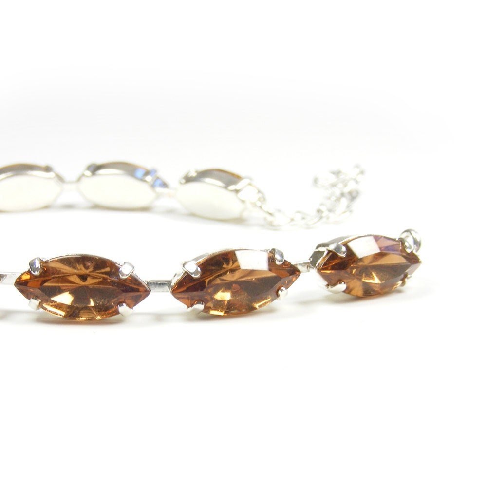 Topaz Rhinestone Bracelet, Sparkly Vintage Swarovski Crystal Adjustable Bracelet, Old Hollywood Glamour Jewelry