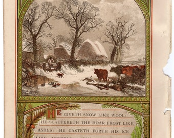 Psalm 147:16 He Giveth Snow Like Wool Chromolithograph 1871 Sunday at Home #00094