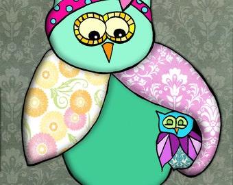printable 8x10 mother and baby owl print