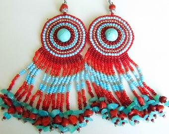 Beaded blue red earrings with blue howlite / beadwork