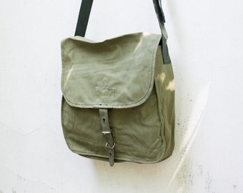 Vintage Green Military Bag Army Canvas Bag Soviet Unused USSR Cold War back to school, Army Bag, Crossbody Bag,  ammo messenger bag, ohtteam