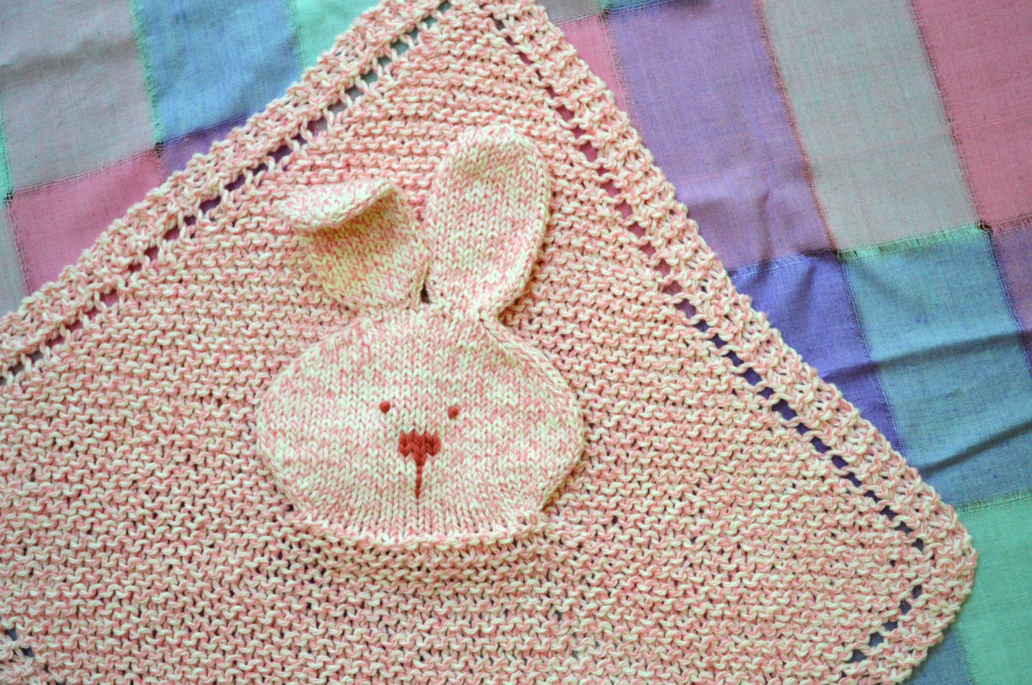 Bunny Blanket Knitting Pattern : PDF Knitting Pattern Bunny Lovey Security blanket