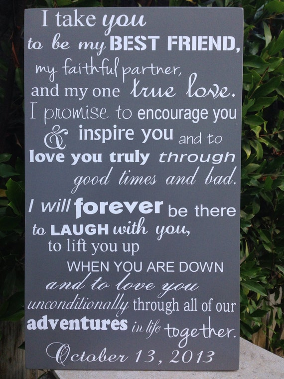 Wedding vows wood sign 12 x 20 subway engagement i like this item junglespirit