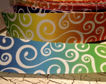 "1.5"""" RAINBOW Colors LOOP Swirl Grosgrain Ribbon sold by the yard"