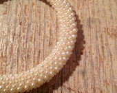 Vintage Beaded Pearl Bangle Bracelet - White Pearl - Bridal Jewelry- Wedding - PackandAlleys