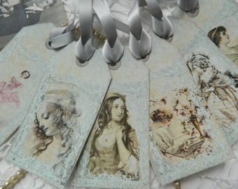 Vintage Inspired Gift/ Wedding Tags set of 6