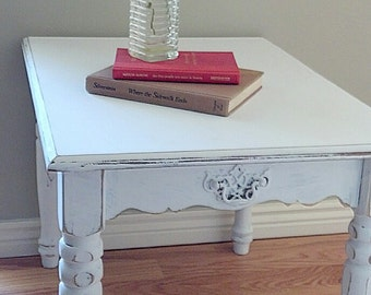 White Rectangle Side Table 263