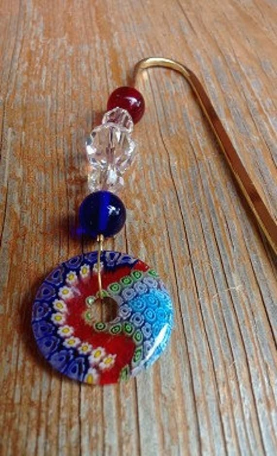 Patriotic Gift, Red White and Blue Beaded Bookmark, USA Gift Idea, American Pride Metal Bookmark