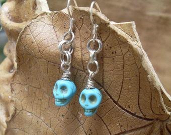 10mmCarved Magnesite Skull Earrings – Turquoise