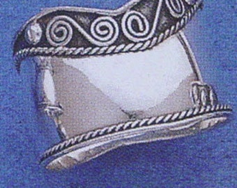 Sterling  Silver 925  Bali  Wide Cigar Band Ring  Size US #9 to 13