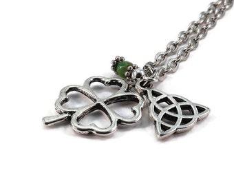 Four Leaf Clover Triquetra Necklace Celtic Knot Silver Chain