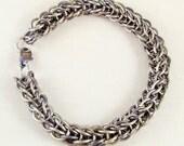 Silver & Indigo Titanium Chainmail Anklet