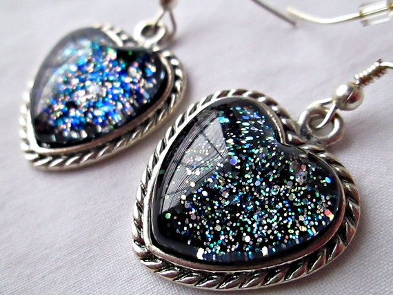 Black Rainbow Glass Dangle Earrings; Handmade Glitter Nail Polish Jewelry; 16mm Glass Hearts in Antique Silver Earring Settings
