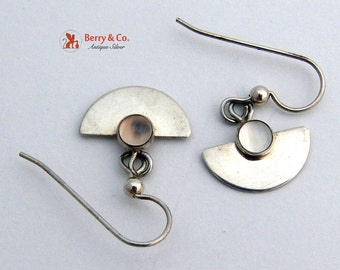 Modern Cat's Eye Moonstone Sterling Silver Earrings