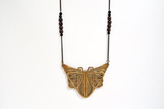Collier Sautoir Art Déco, Pendentif Papillon, Perles Noires et Chaine Retro -