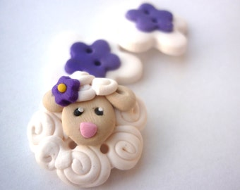 Polymer clay buttons-Lamb shaped buttons handmade with polymer clay