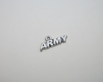 Antique Pewter Army Charm - Military Charm
