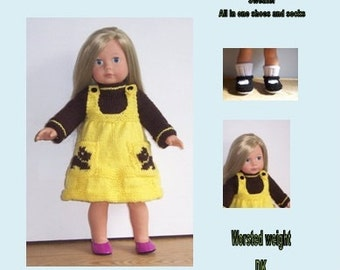 "Ready to Play,  PDF knitting pattern for 18"" to 19"" dolls,  American Girl, Gotz, Our Generation and similar"