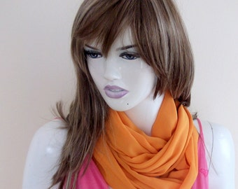 Orange Wrap, Shawl, Scarf,Loop