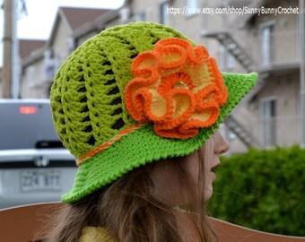 CROCHET PATTERN CHILD, Crochet Woman Hat, Summer hat pattern, Girl hat pattern, Flower Hat, Diagonal hat pattern, Brimmed Hat Pattern