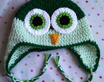 Handmade Crochet Childrens Owl Earflap Hat Green