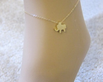 Elephant Anklet, Lucky Elephant, delicate anklet, Dainty anklet, Gold Anklet, summer, beach,  Gift for friend, Charm anklet,  Good Luck,