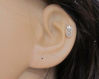 Tiny Hamsa hand Cartilage Earring, Tragus earring, Helix earring