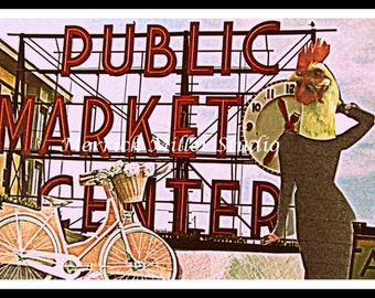 Mixed Media Public Market Center Chicken Bike Print Seattle 8x10 collage red, black, white, pink, signage