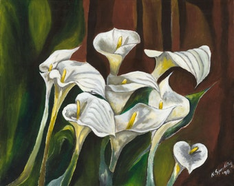 Wall Art, Original Acrylic Painting on Canvas,Still Life Home Decor Green and white Painting floral, flowers Calla Lillies Title: Callas III
