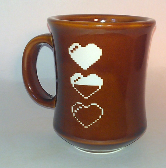 8 Bit Life Heart Etched Ceramic Diner Mug By Cyberglassware