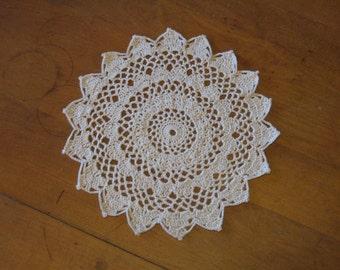 Crochet Doily in Ecru Cream