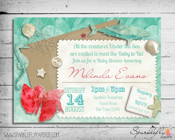 Items Similar To Under The Sea Baby Bridal Shower Invitation By Sparklefly  Paperie On Etsy