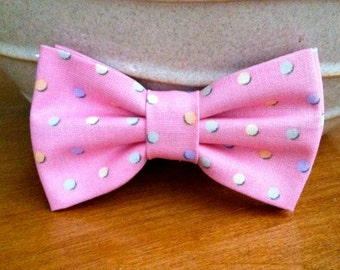 Dog Bow Tie- Pink with Pastel Polka Dots