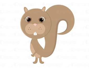 Fall Squirrel - Cute Clipart Squirrel - Commercial and Personal Use. Scrapbooking, Invitations, Card Design and more.