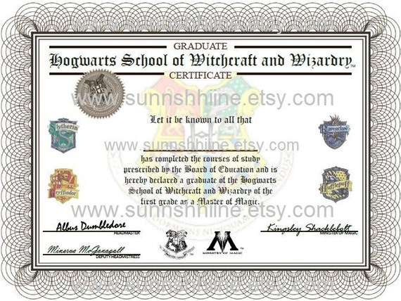 Hogwarts graduation certificate harry potter by sunnshhiine for Hogwarts certificate