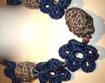 Gorgeous Necklace, Bib, Crochet Hand Knitted, Daises, Women, Gift,  Eco friendly