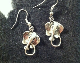 Sting Ray Earrings - Silver Tone