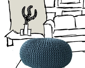 Hand knitted pouf ottoman 60 cm