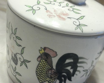 Rooster Bowl with Cow Figurine Lid