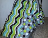 Reversible Carseat canopy with Polka Dots.  Modern. Lightweight for Summer